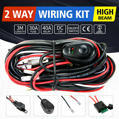 LED HID Wiring Loom Harness Spot Work Driving light bar 12V 40A Relay Switch kit