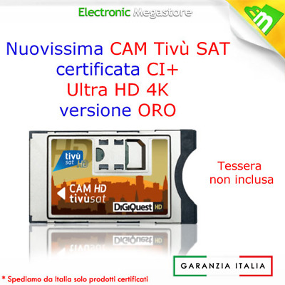 CAM HD 4K TIVUSAT DIGIQUEST TESSERA NON INCLUSA TIVùSAT SD HD SATELLITARE