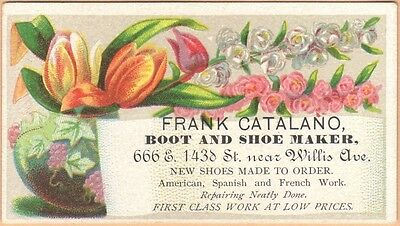 Small Victorian Trade Card-Frank Catalano-Boot & Shoe Maker-NYC-Flowers