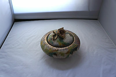 Vintage Graffito Textured Italian Pottery:  Bowl With Floral Accent Top