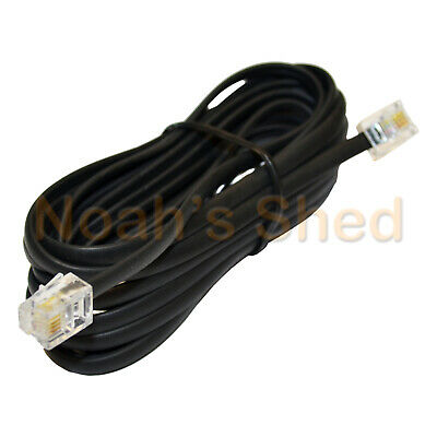 RJ12 Telephone ADSL Modem Modular Line Patch Flat Wall Cord Cable 6P4C 3M BLACK