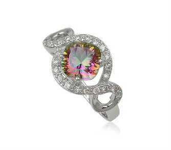 925 Sterling silver Mystic Rainbow TOPAZ and CZ stones ring size 7 US (N½ AU)