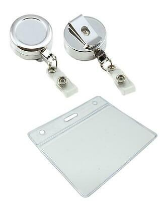 Heavy Duty Chrome ID Badge Reel Nylon Cord With ID Pocket 60x90mm FREE DELIVERY