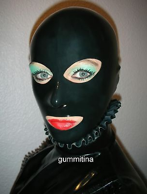 Latex / Gummi Maske schwarz Gr.L / mask hood size L/ Theater / Latexmask/ rubber