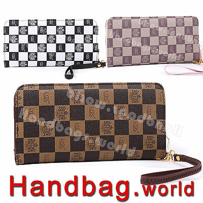 New LYDC Large Faux Leather Chequered Wallet Purse Ladies Clutch Bag