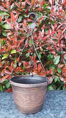 "Top Quality Acorn Pattern Warm Copper Plastic 9"" Hanging Basket With Hanger"