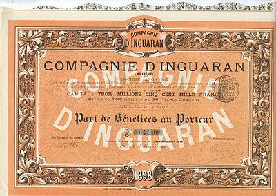 Mexiko Mexico Compagnie d´Inguaran Part de Benefices 1898 deko accion