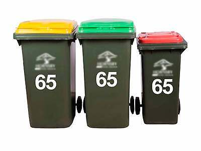 3x Wheelie Rubbish Garbage Bin Sticker House Number Identification Vinyl Decal