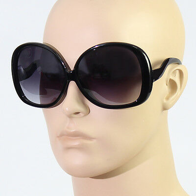 70's RETRO Vintage Style BIG WoMen OVERSIZED Black Frame Dark Lens Sunglasses r