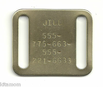 "Square Brass Quiet Slide Fits 1"" Collar Pet ID Name Tag Dangle Free"