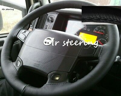 For Daf Xf 105 Truck 2006-2012 Real Black Italian Leather Steering Wheel Cover