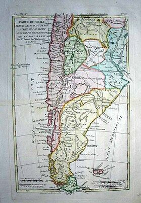 1780 Bonne Map ARGENTINA CHILE South America Decorative & Detailed Fine Example!