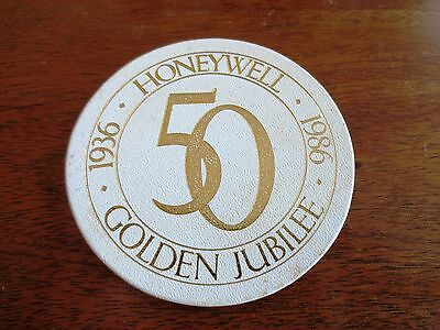 Vintage 1986 Honeywell Company 50th Anniversary Leather Coaster Golden Jubilee