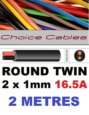 ROUND TWIN AUTO CABLE 2 CORE 1.0mm 16.5 AMP CAR BOAT LOOM WIRE, MARINE CABLE 2m
