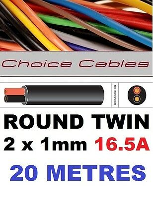 ROUND TWIN AUTO CABLE 2 CORE 1.0mm 16.5 AMP CAR BOAT LOOM WIRE, MARINE CABLE 20m