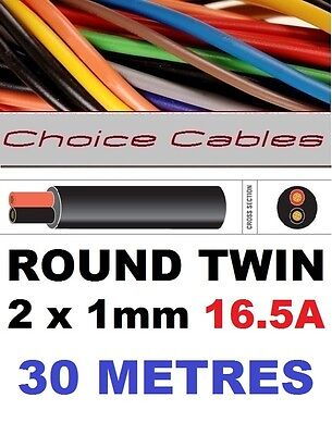 ROUND TWIN AUTO CABLE 2 CORE 1.0mm 16.5 AMP CAR BOAT LOOM WIRE, MARINE CABLE 30m