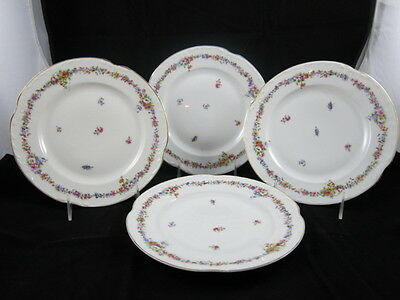 KPM Germany Set of 4 Luncheon Plates Garlands of Flowers Scalloped Edge Gold