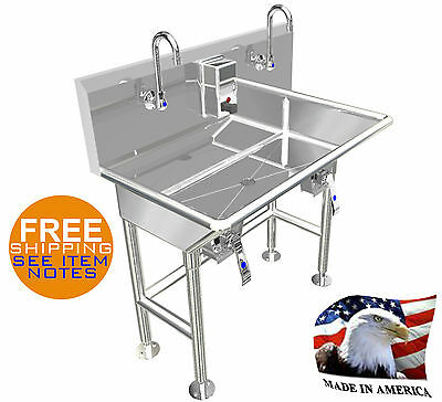 "Hand Sink 36"" 2 Users 4 Braced Legs Hands Free Basin Stainless Steel Made In Usa"