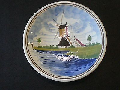 VINTAGE DELFT HAND PAINTED WINDMILL DECORATIVE PLATE / NETHERLANDS