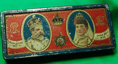 English Royalty British King Edward VII Coronation 1902 chocolate tin