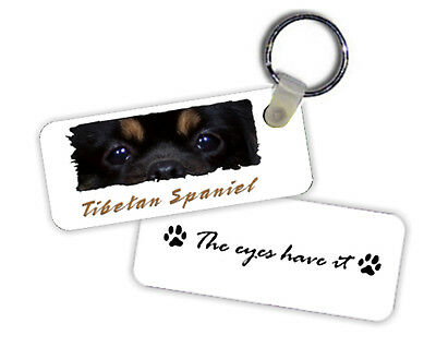 Tibetan  Spaniel   black & tan  color  The  Eyes Have It   Key  Chain