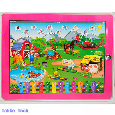 Farm Computer Y-pad English Learning Education Tablet Toy Gift for Kids NEW PINK