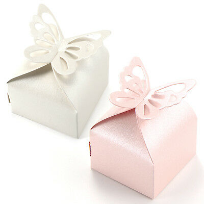 50pcs Butterfly Style Wedding Favour Boxes Candy Gift Boxes Pink White