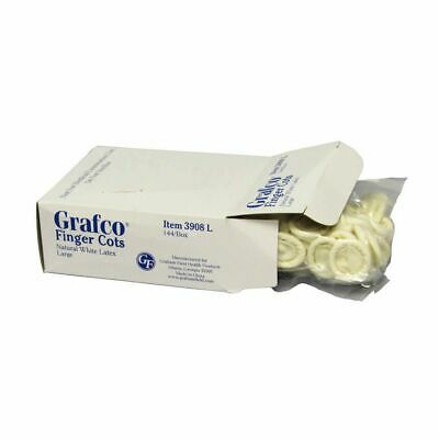 Grafco Latex Finger Cots 144 Per Box Natural White Latex Sealed Box