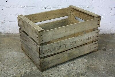 VR ANTIQUE FRENCH WOODEN FARM SOLID PEAR CRATE BUSHELL BOX VINTAGE SHABBY CHIC