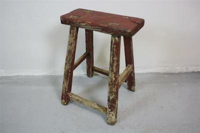 VINTAGE RUSTIC ANTIQUE WOODEN STOOL MILKING LARGE No 44