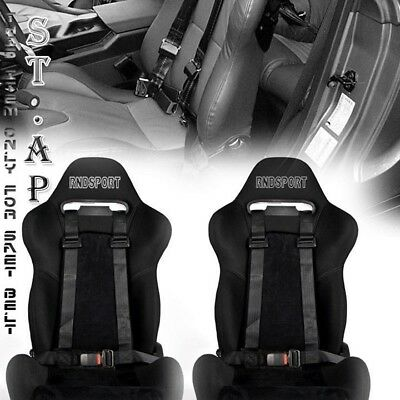 """Universal 2X Jdm Tow 4 Point Racing Safety Harness 2"""" Inch Strap Seat Belt Black"""