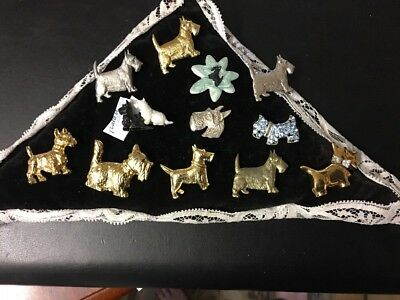 VINTAGE,RETRO 11 SCOTTIE SCOTTY TERRIER DOG PIN BROOCH COLLECTION lot,