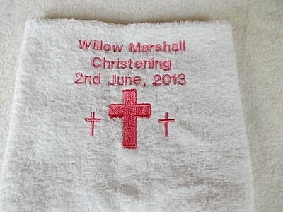 motherbear2003 Personalised Baptism or Christening White Hand Towel