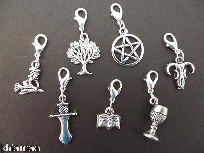Clip On Wiccan Bracelet Charm pentacle athame chalice witch wicca pagan silver