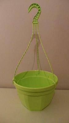 "New Vibrant Green Coloured Plastic 9"" Hanging Basket Planter With Hanger"