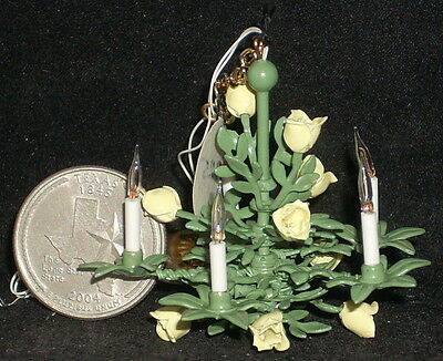 Dollhouse Mini Yellow Rose of Texas Chandelier Hanging Light Lamp Lighting 1:12