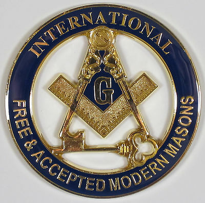 Auto Emblem Blue Lodge International Masons Metal Enamel Freemason Mason