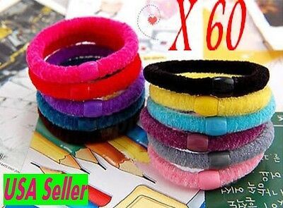 Wholesale Womens Ladies Lot x 60 pcs Elastic colorful hair ponytail holders -USA