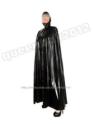100% Latex Rubber Gummi Robe Dress Catsuit Gown Cape Hood Mantle Cloak Poncho