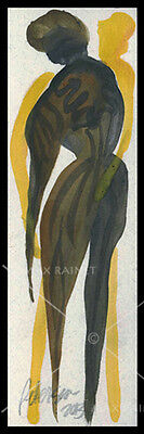 Figures Ser 20 First Touch Stranger C PETERSON Original Watercolor PAINTING ACEO