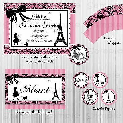 Complete Paris & Poodles Party: Birthday, Bridal or Baby Shower, Invitation