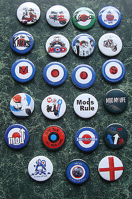 Mod Colection 1 Inch Button Badges X 23 Retro Parker Scooter Rallies Patch
