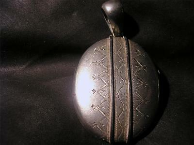 Lovely Victorian Large Silver Engraved Collar Locket