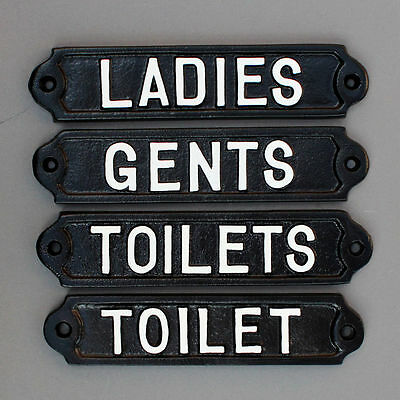 Gents / Mens Ladies / Womens & Toilets Door Signs Loo Antique Cast Iron Style