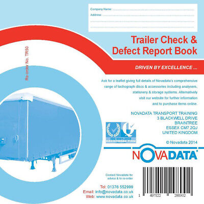 4 x Trailer Check & Defect Report Books Pad 50 Duplicate pages 1st Class postage