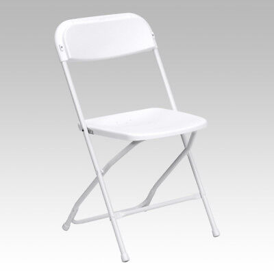 (10 PACK) 650 Lbs Weight Capacity Commercial Quality White Plastic Folding Chair