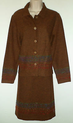 C'EST BEAU LA VIE wool suit jacket skirt UK 8 US 6 EU 36 Retro