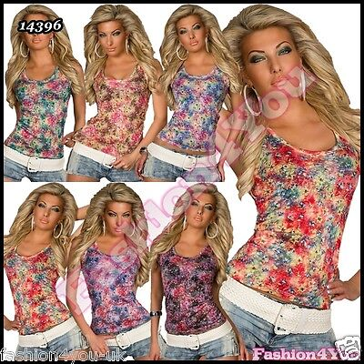Flowers Top Sexy Women's Summer Floral Casual Vest Top ONE SIZE 6,8,10,12 UK