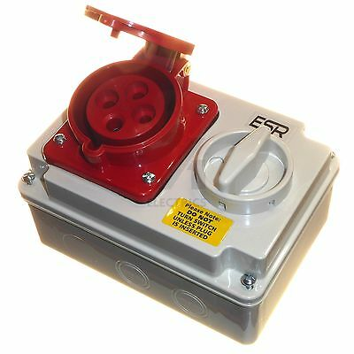 32 amp 4 pin socket interlock with switch 3 phase 3P+E IP44 32A red 380 - 415V