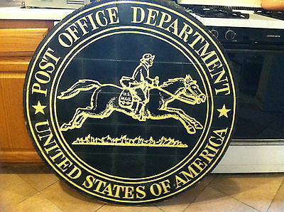 Rare Antique US Post Office Pony Express Vintage Authentic Postal Mail Sign Rare